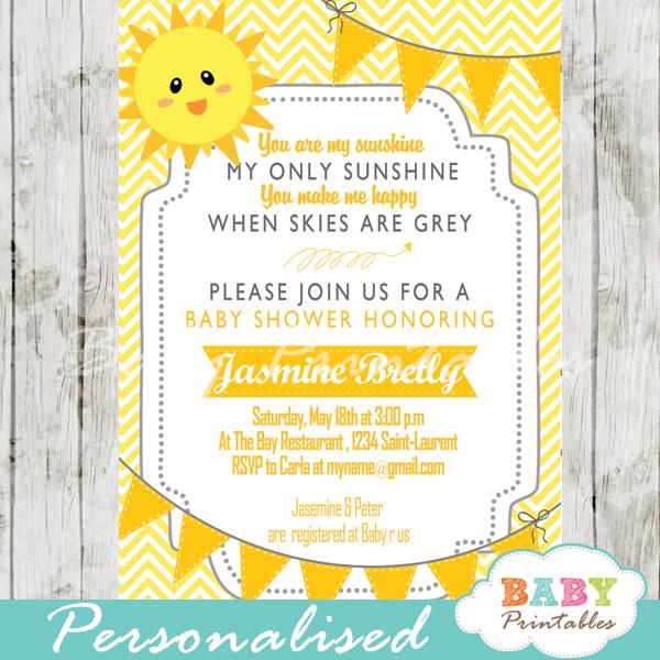 diy sunshine yellow chevron baby shower invitation printable