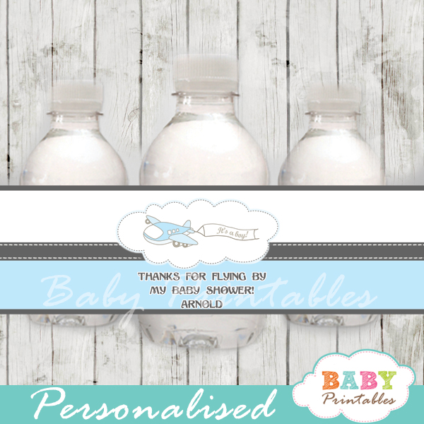 custom blue airplane baby shower bottle wrappers diy online