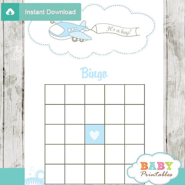 airplane themed baby shower bingo games cards