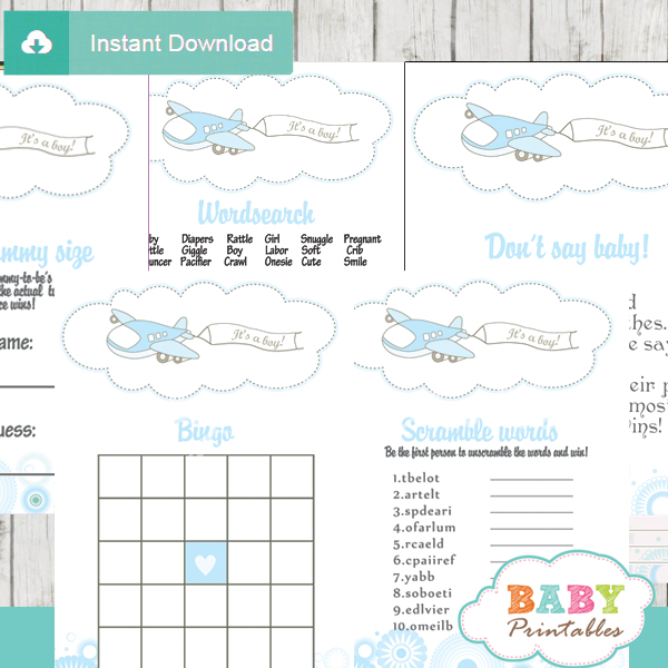 printable blue airplane themed baby shower games package