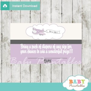 printable purple plane diaper raffle game cards baby shower
