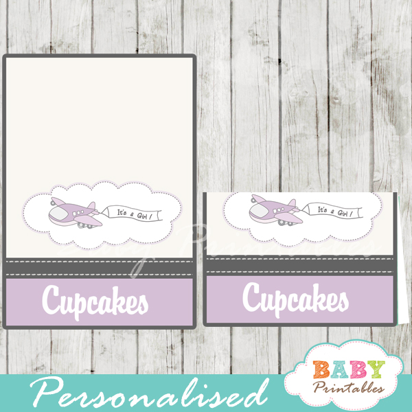 printable purple airplane custom food label cards