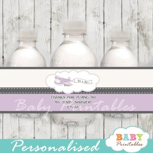 custom purple airplane baby shower bottle wrappers diy online