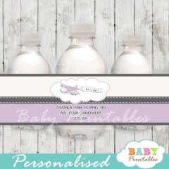 custom purple airplane baby shower bottle wrappers diy online