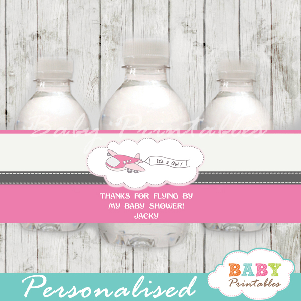 pink custom airplane baby shower bottle wrappers diy