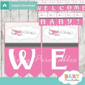 printable pink airplane decoration baby shower welcome banner
