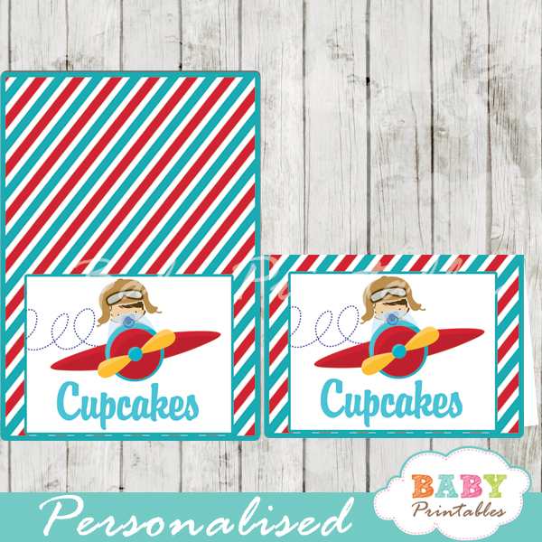 printable little aviator custom food label cards  sc 1 st  Baby Printables & Red u0026 Turquoise Little Pilot Baby Shower Food Tent Cards - D168 ...