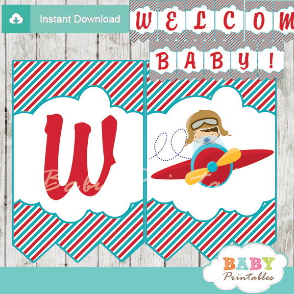 printable little aviator baby shower welcome banner decoration