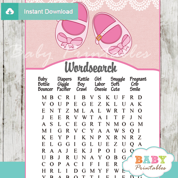 baby shoes printable baby shower word search puzzles
