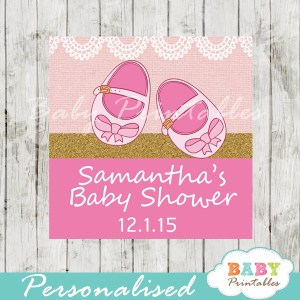 printable custom girl baby shoes baby shower favor tags