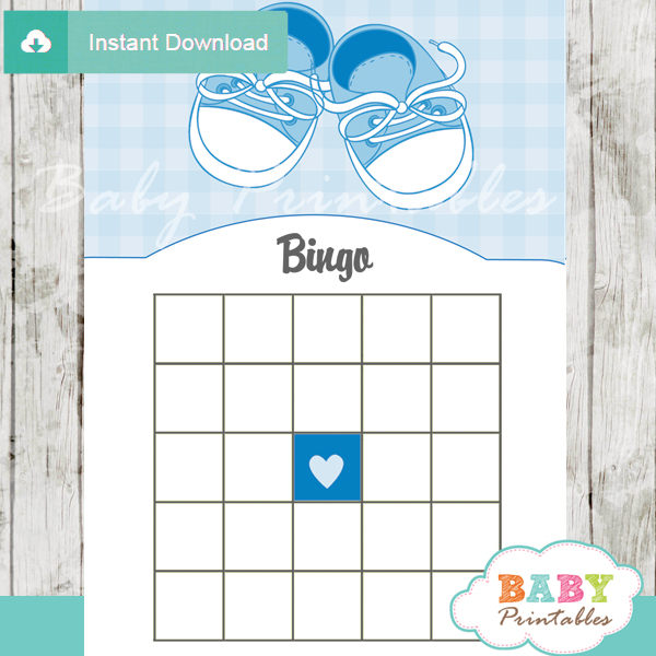 boy baby shoes themed baby shower bingo games cards