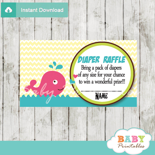 printable girl pink whale diaper raffle game cards baby shower
