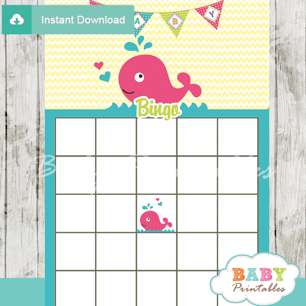 cute pink whale themed baby shower bingo games cards