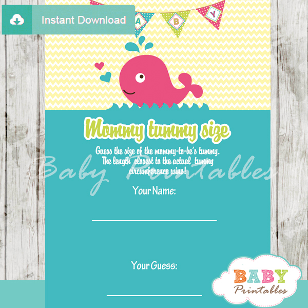 pink whale printable Baby Shower Game Guess the Mommy's Tummy Size