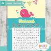 pink whale printable baby shower word search puzzles