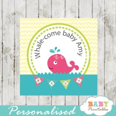 printable custom girl pink whale baby shower favor tags