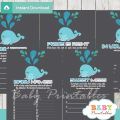 printable blue whale baby shower fun games ideas