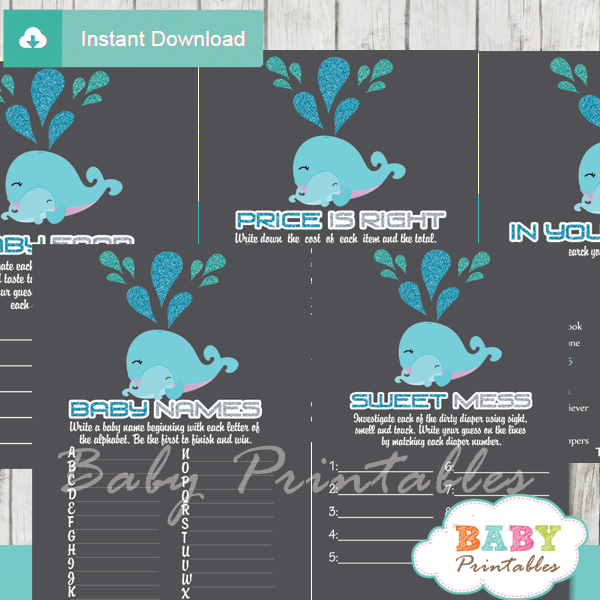 printable blue whale baby shower fun games ideas