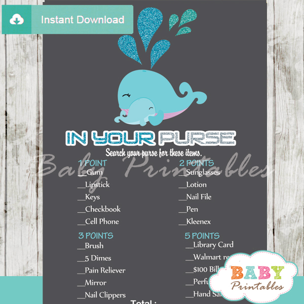 blue whale themed printable baby shower games what's in your purse