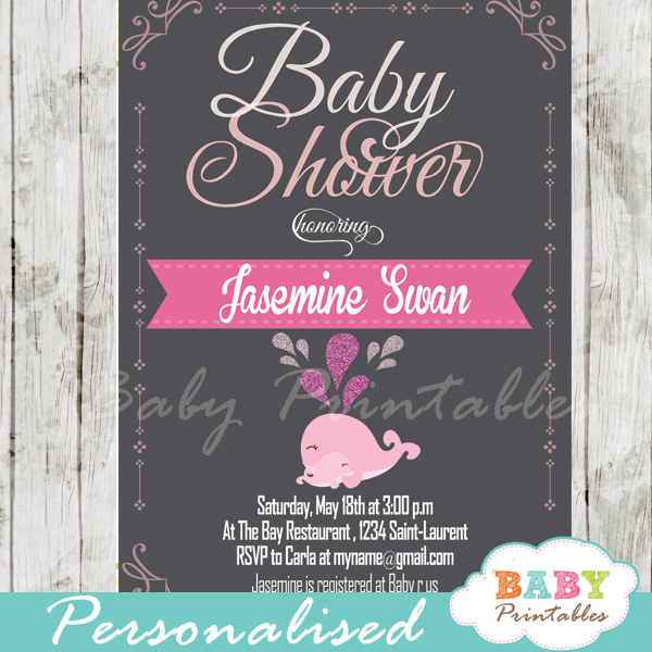 printable cute pink whale baby shower invitations for girls
