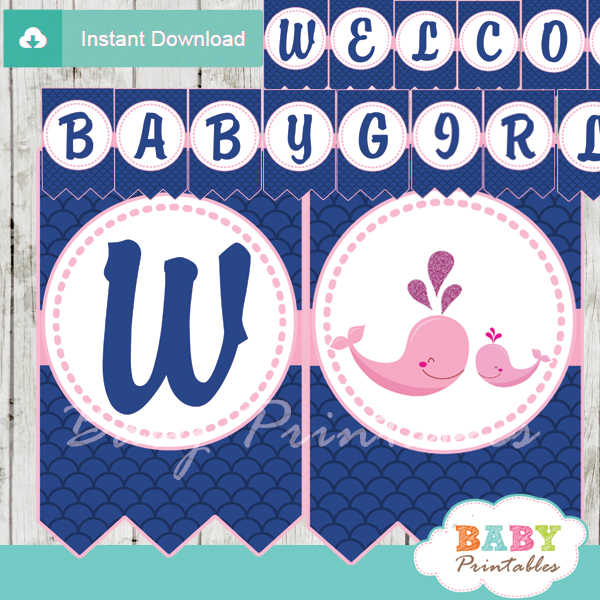 printable navy blue scallop pattern whale welcome girl baby shower banner decoration personalized
