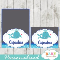 blue and grey printable whale personalized food label cards
