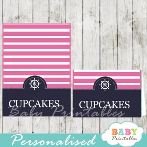navy and pink printable nautical personalized food label cards