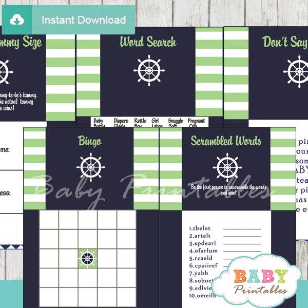 navy and lime green printable nautical striped baby shower games package