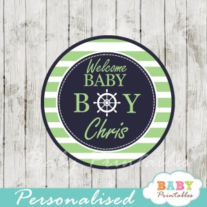 personalized navy and green nautical baby shower cupcake toppers