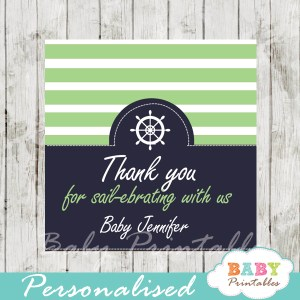 navy and lime green printable custom nautical helm baby shower favor tags