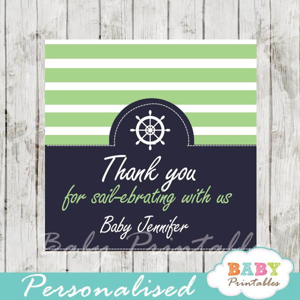 navy and lime green printable custom nautical helm baby shower favor tags
