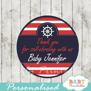 personalized navy and red nautical baby shower favor labels