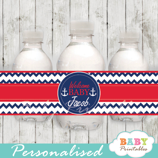 navy and red personalized nautical baby shower bottle wrappers diy