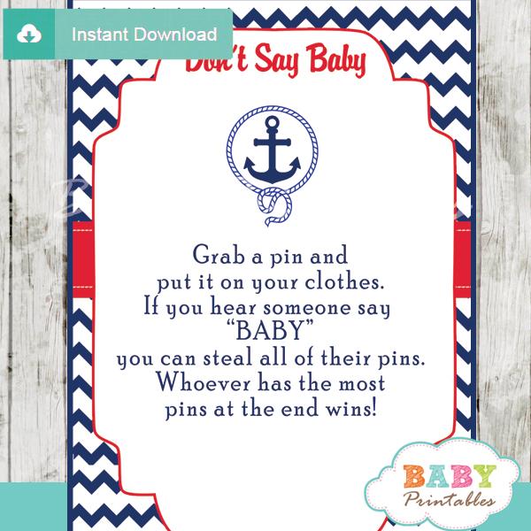 nautical anchor printable game Dont Say Baby pdf