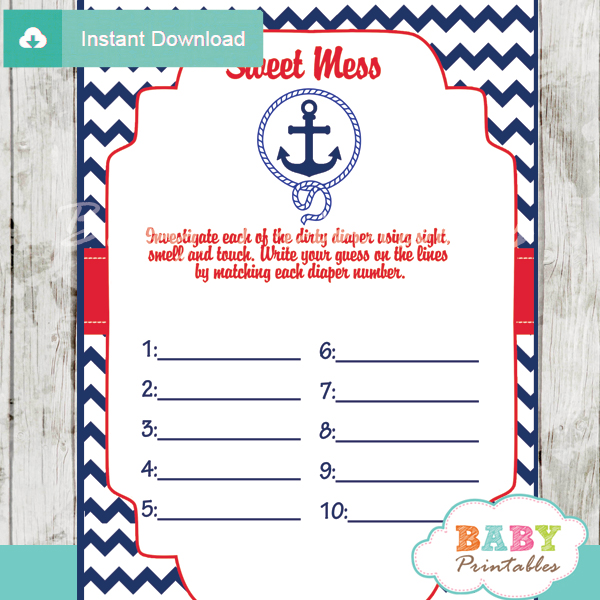 printable nautical anchor Baby Shower Game Guess the Sweet Mess Dirty Diaper