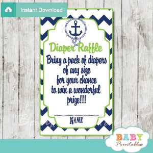 blue and green printable nautical diaper raffle game cards baby shower