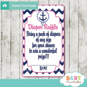 blue and pink printable nautical diaper raffle game cards baby shower