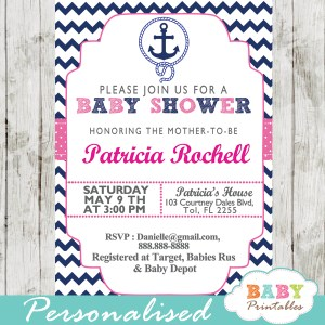 printable nautical baby shower invitations girls