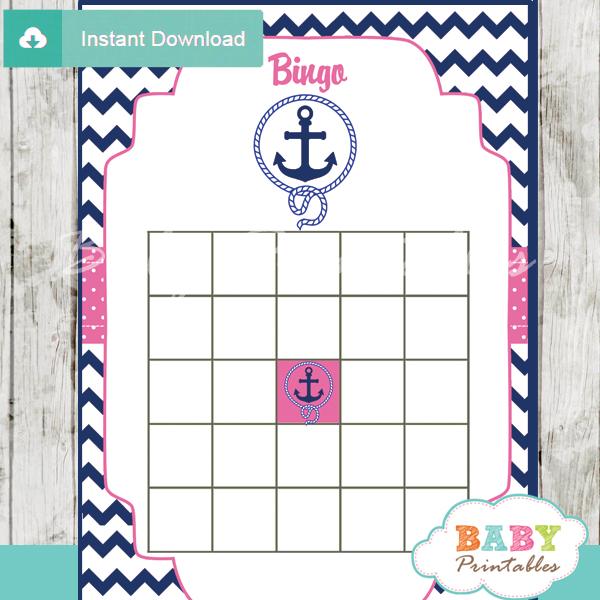 nautical anchor printable baby shower bingo games cards