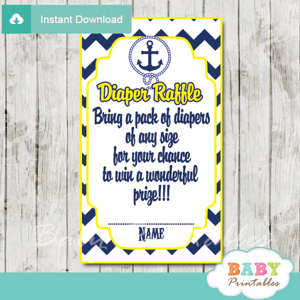 blue and yellow printable nautical diaper raffle game cards baby shower