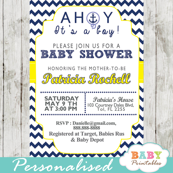 gender neutral yellow printable nautical baby shower invitations