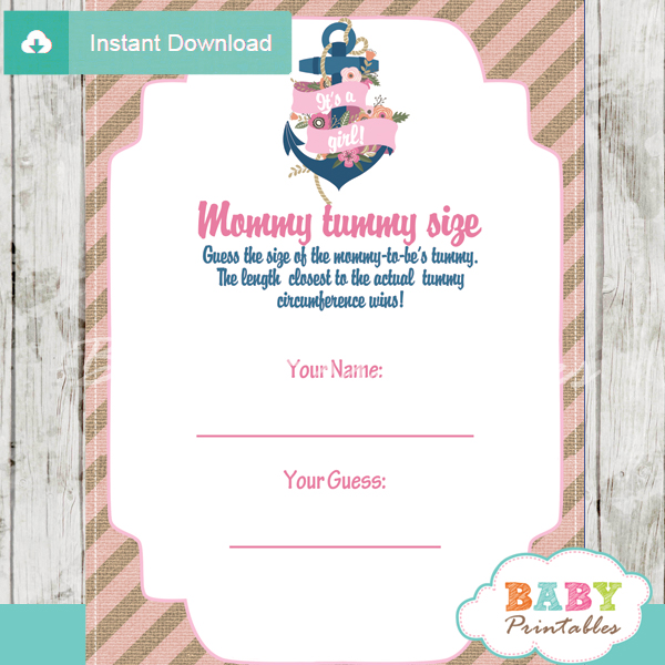 floral nautical anchor printable measure the belly baby shower game
