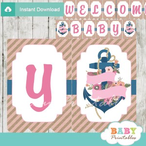 blue pink printable nautical floral anchor baby shower banner decoration personalized