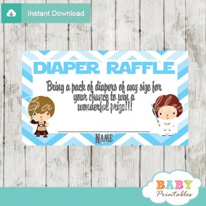 printable star wars diaper raffle game cards baby shower