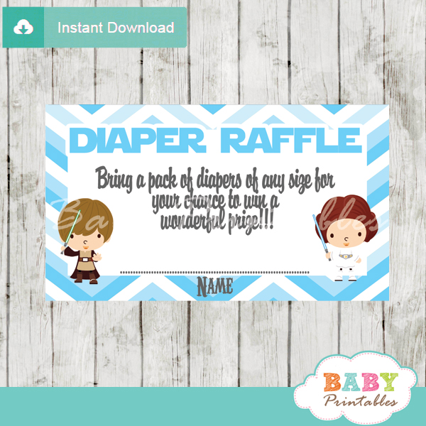 Blue chevron star wars diaper raffle tickets d205 baby for Baby shower diaper decoration game