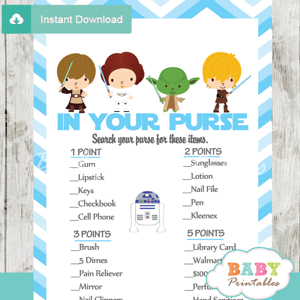 star wars what's in your purse baby shower game printable