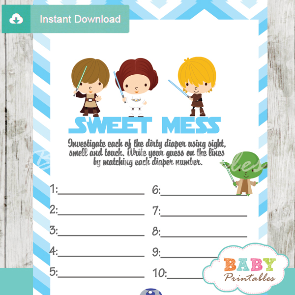 printable star wars Baby Shower Game Guess the Sweet Mess Dirty Diaper