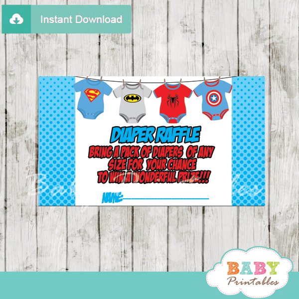 printable superhero onesie diaper raffle game cards baby shower