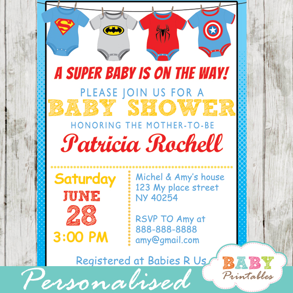 printable superhero onesie baby shower invitation personalized