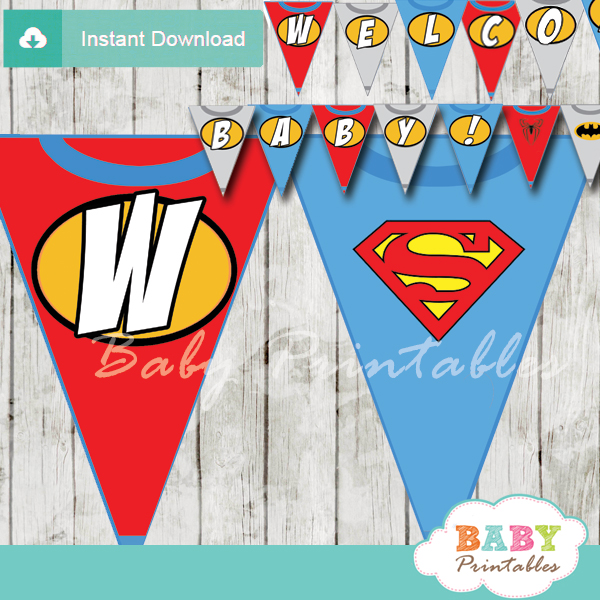 printable superhero welcome banner decoration personalized